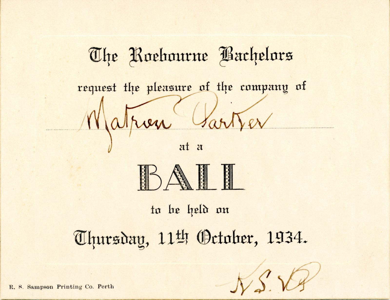 Invitation to Roebourne Bachelors Ball 1934