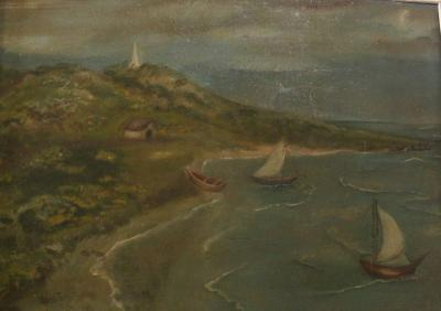 Two sail boats near shore, right, obelisk on hill in centre.
